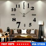 3D Mirror Surface Large Wall Clock Modern DIY Sticker Office Home Shop Art Decor