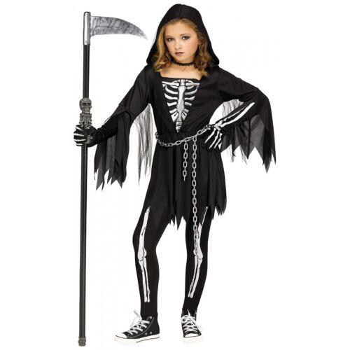 Girl Grim Reaper Costume Kids Halloween Fancy Dress
