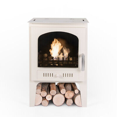 Bio Fires - Wood Burner Style Traditional Bioethanol Stove With Logs Cream
