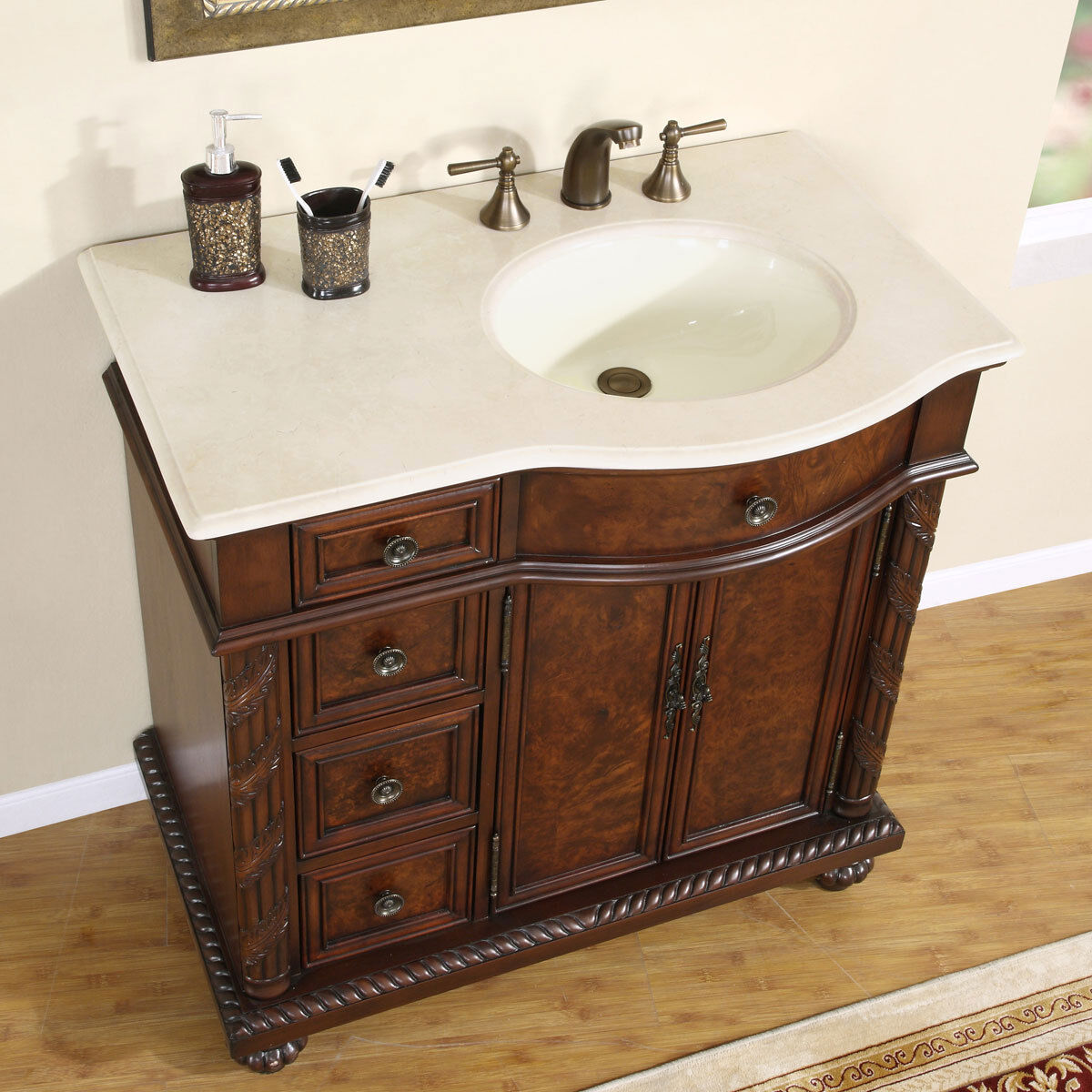details about 36 marble top lavatory bathroom single vanity cabinet off center sink 213cm r