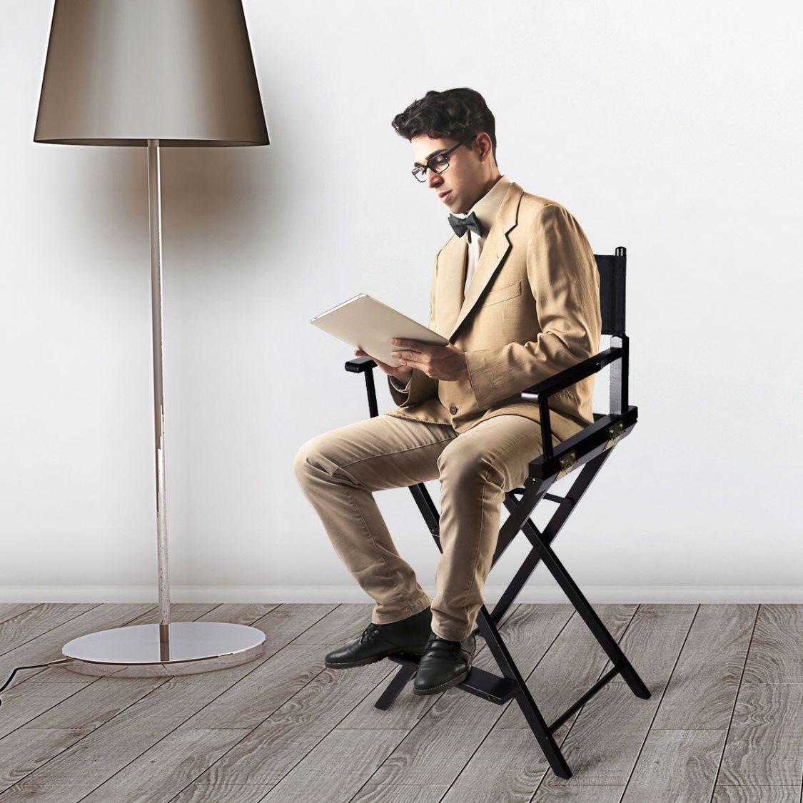 Hoher Regiestuhl Klappstuhl Make-up Chair Schminkstuhl Holz mit Seitentaschen