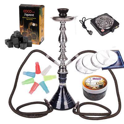 SHISHA Wasserpfeife Set mit Kohleanzünder, Dampfsteine, Folie, Kohle, Zubehör