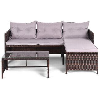 Topbuy 3PC Outdoor Furniture Set Rattan Wicker Sofa Table Deck Garden Patio