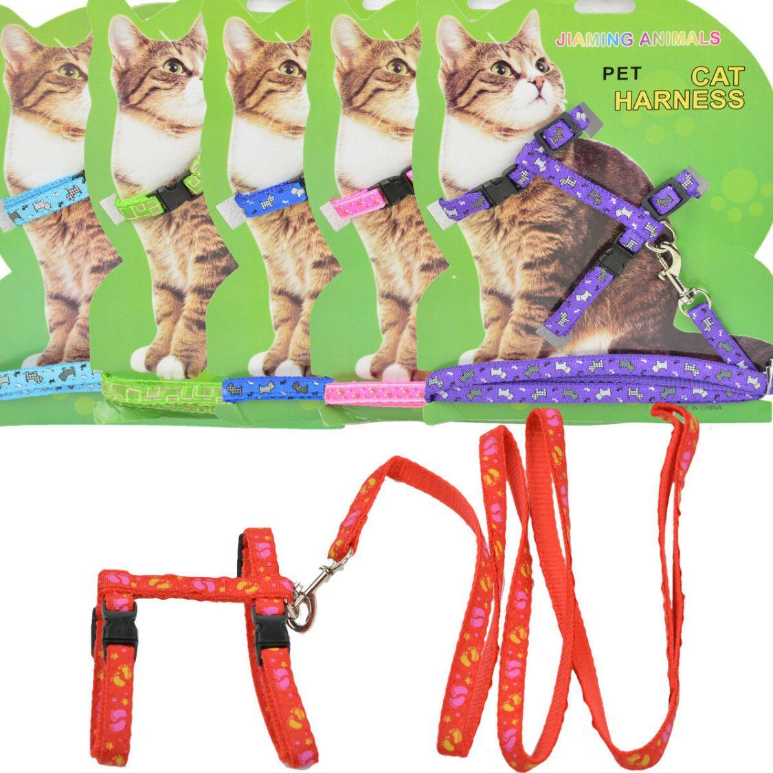Katzen Geschirr Halsband Katzenleine Haustier Hunde Katzengeschirr mit Leine NEU