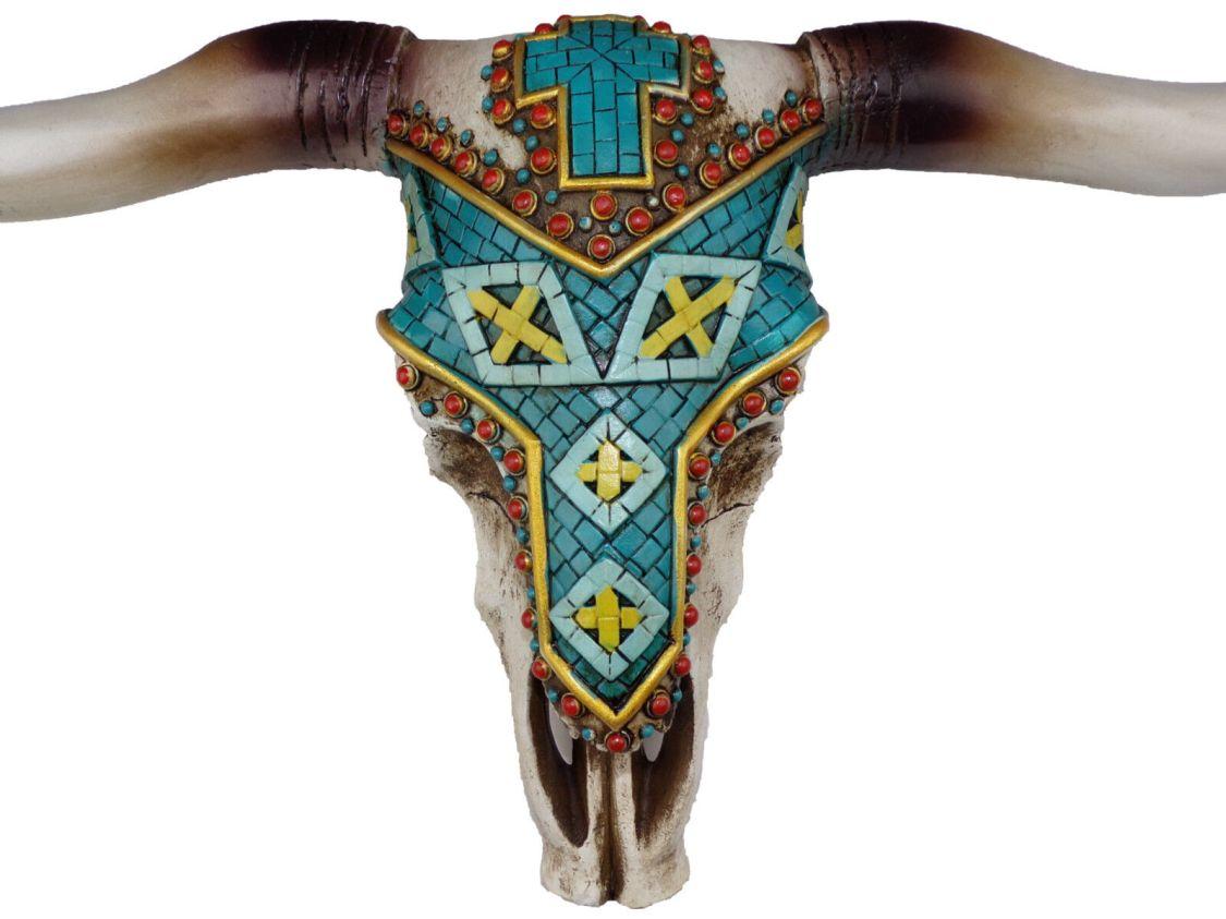 Deko Schädel Bullenschädel Stier Figur Ibiza-Style Kreuz Skull Western
