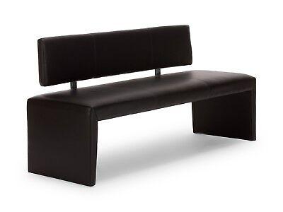 Sitzbank schwarz mit Rückenlehne Kunstleder Bank Möbel modern NEU LOHJA
