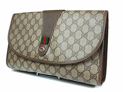 Authentic GUCCI GG Pattern PVC Canvas Leather Browns Clutch Bag GP1125