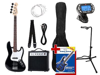 E-Bass Komplett Set Black 7-teilig Amp Tuner Ständer Gurt Kabel Verstärker