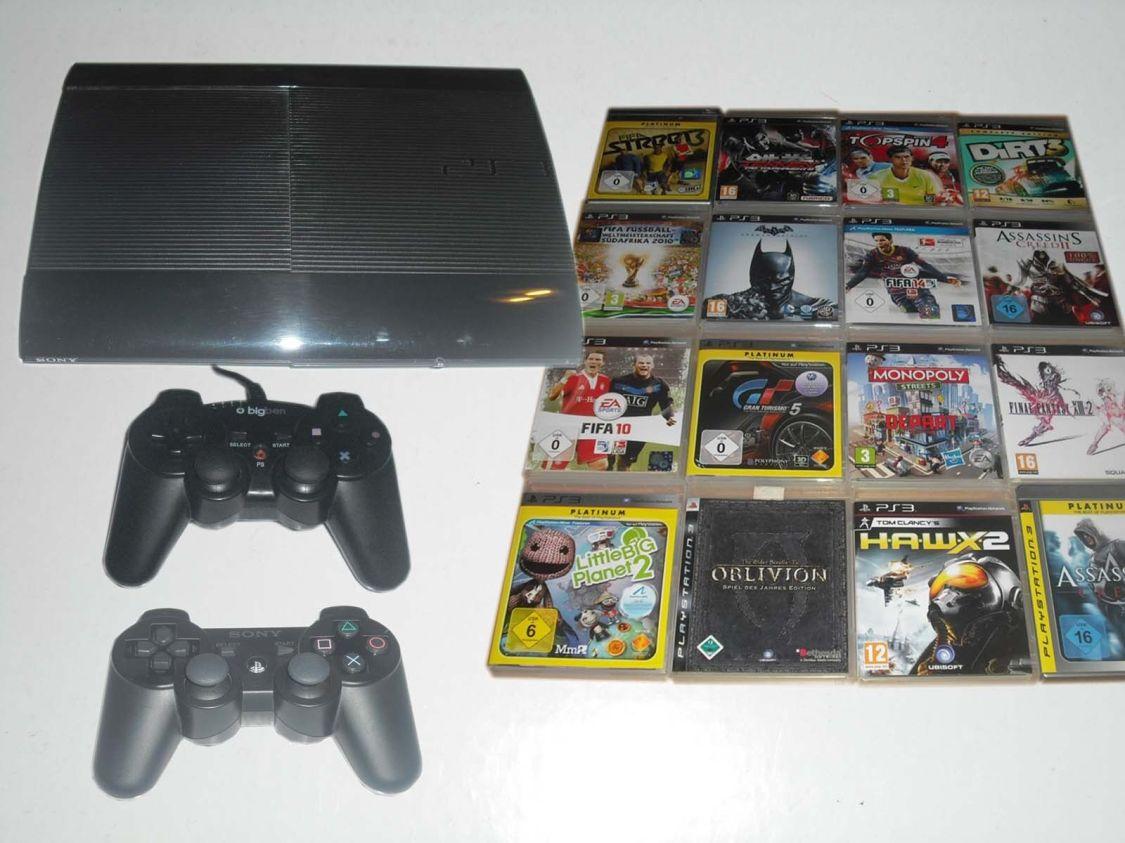 PS3 Super Slim 500GB Konsole + 2 Controller + 5 Spiele Gratis * Playstation 3