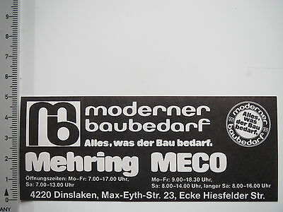 Aufkleber Sticker Moderner Baubedarf Mehring Meco Dinslaken (7623)