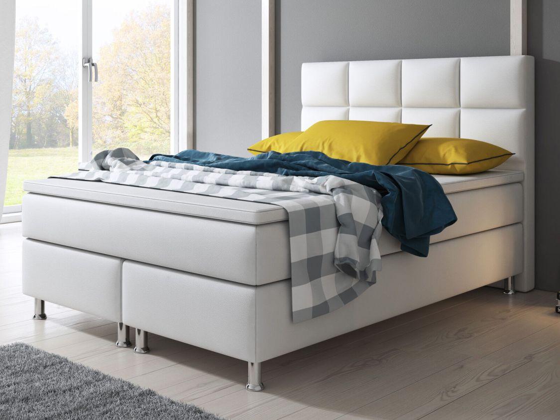 Boxspringbett MIAMI Bett Hotelbett Designerbett 140x200 Kunstleder Weiß