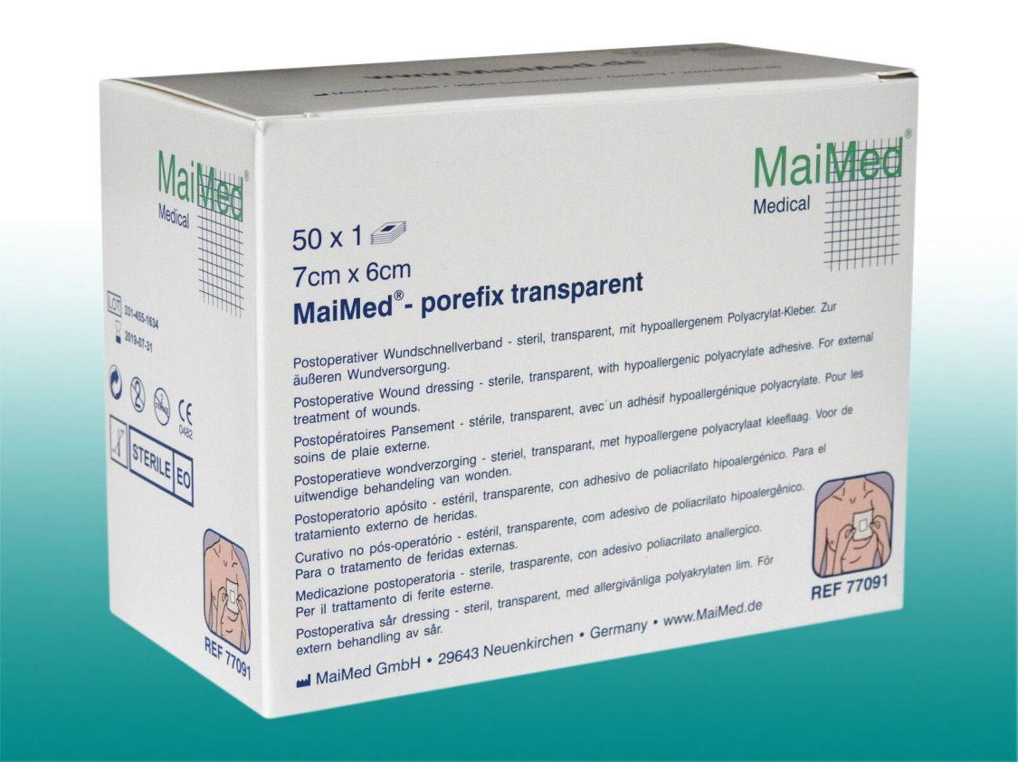 MaiMed porefix transparent steril,50 Pflaster, 7 x 6cm Duschpflaster Wundverband