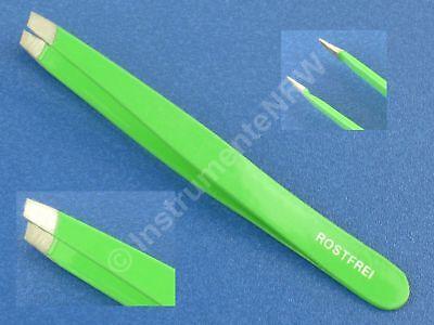 Profi-Pinzette Schräg Zupfpinzette Augenbrauen Haarzupfpinzette Grün 10 cm - 4mm