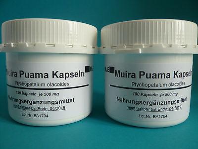 Muira Puama 2 Dosen=360 Kapseln (19,88€/100g)Potenzholz Ptychopetalum oleacoides