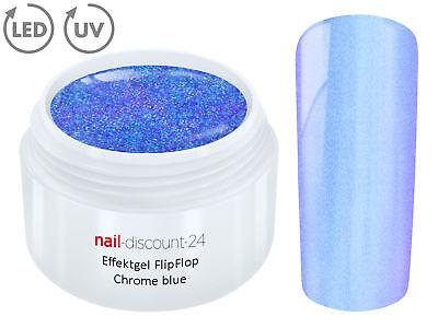 UV LED Effekt Gel FLIP FLOP CHROME BLUE Farb Color Feiner Glitzer Glitter Blau