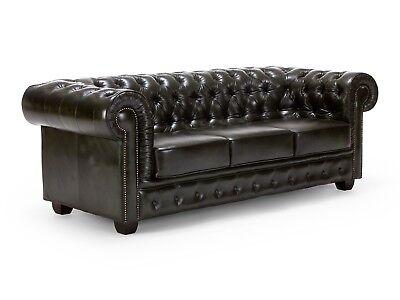 CHESTERFIELD Sofa Couch 3-Sitzer Echtleder grün Wohnen Büro Möbel NEU