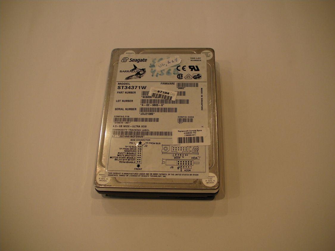 """Seagate Barracuda Ultra SCSI Festplatte 3,5"""" ST34371W 4,3GB 68 Pin Test OK"""