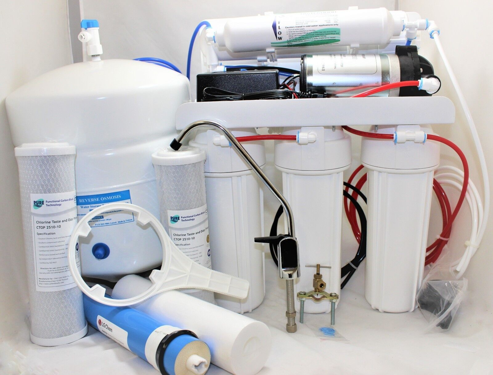 5 Stage Reverse Osmosis System 100 Gpd With Booster Pump