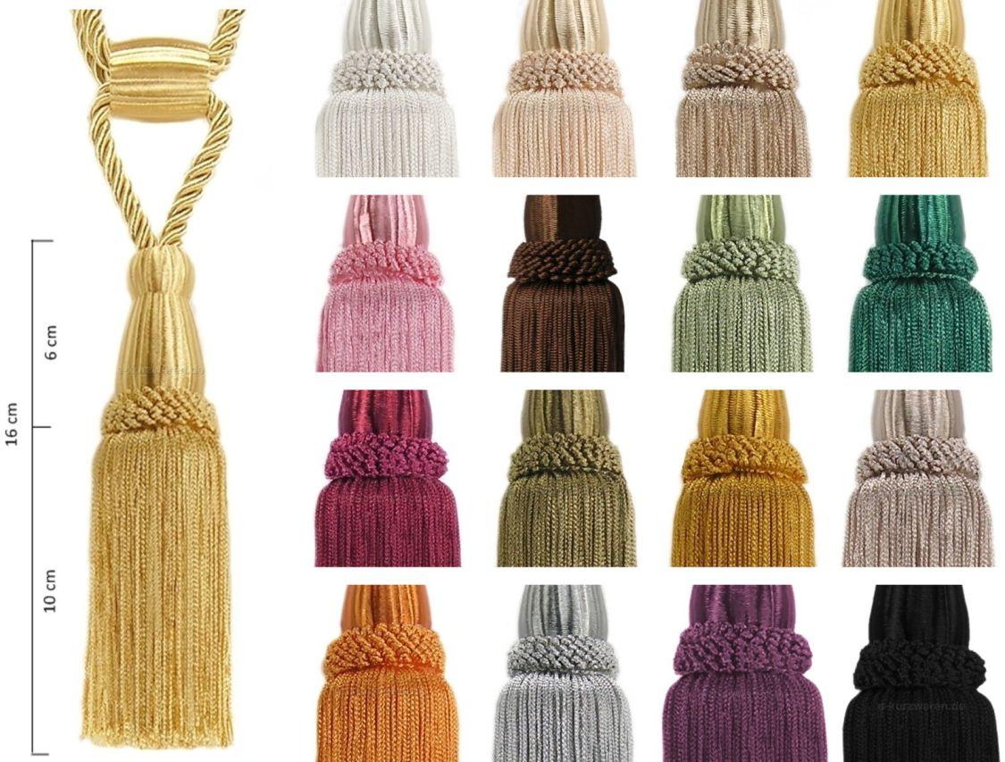 Quasten Raffhalter 16cm mit Kordel 50cm Troddel Gardinen Vorhänge 15 Farben