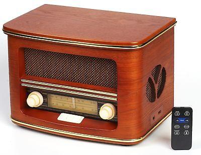 Retro Radio Holz mit CD Player USB Nostalgie Radio Kompaktanlage Küchenradio NEU