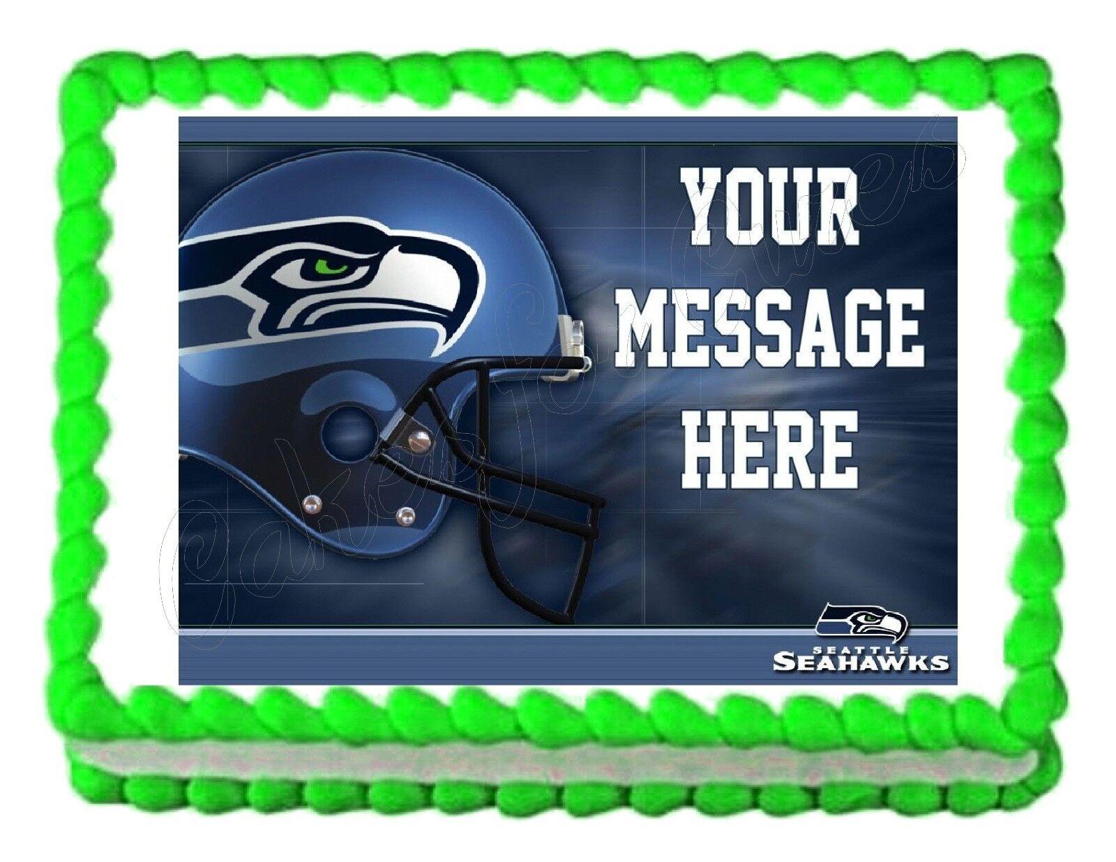 Seattle Seahawks Football Edible Cake Image Topper