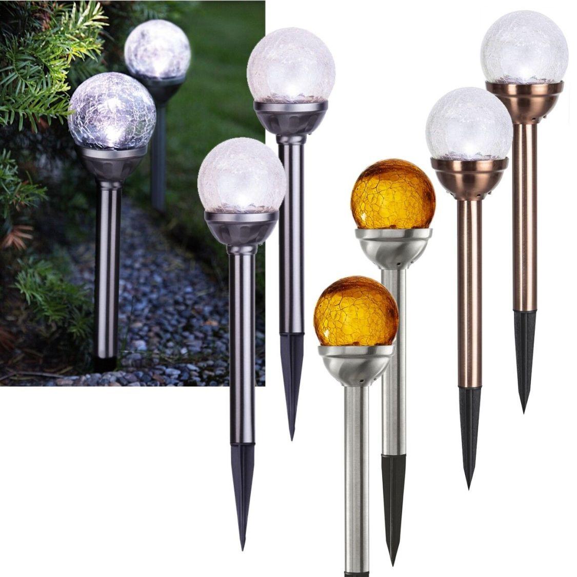 2er Set Solar Kugel Leuchte 29x8cm LED Garten Leuchte Glas-Kugel Kugellampe