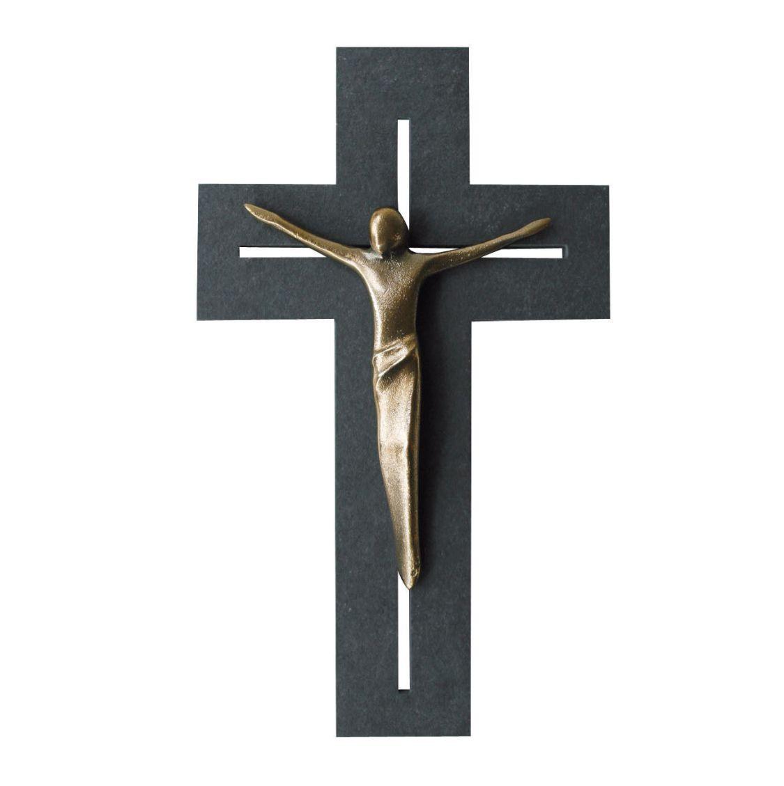 Wandkreuz Schiefer Korpus Jesus Bronze Kreuz 22 cm Kruzifix Christlich