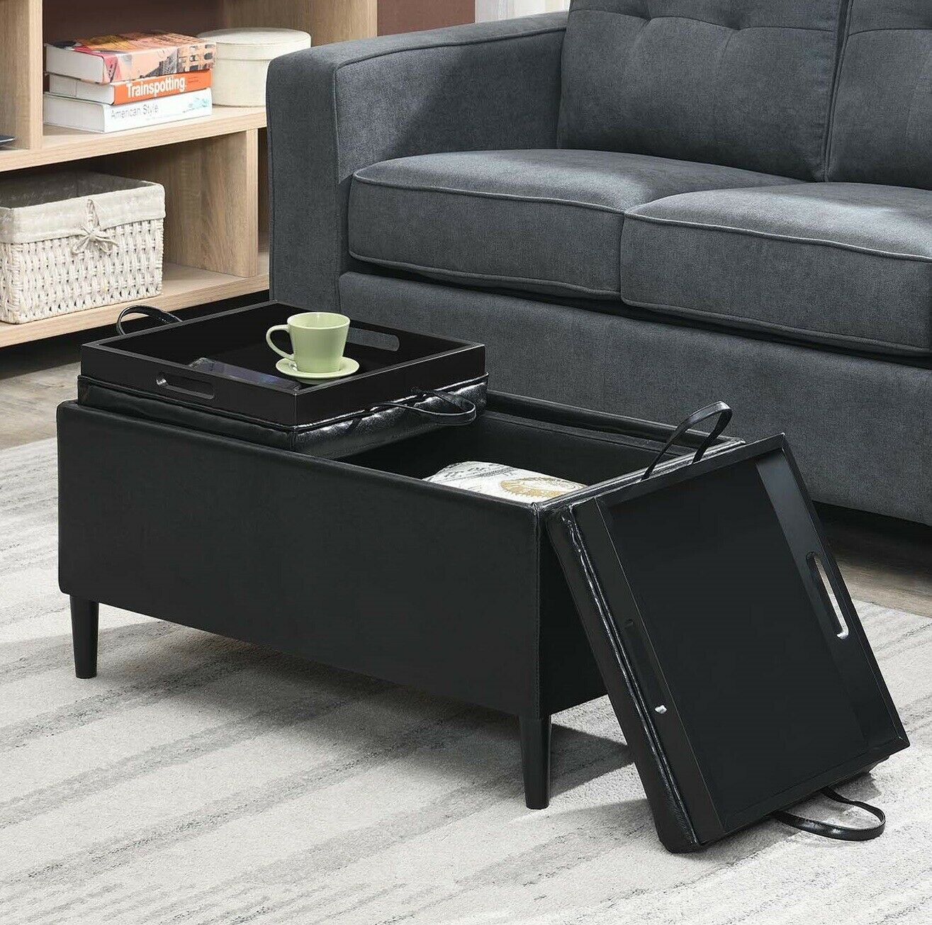 details about rectangular storage ottoman w 2 trays coffee table bench seat upholstered black