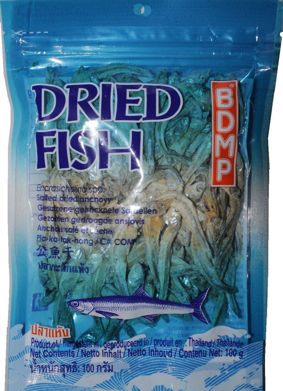 Sardellen 100g getrocknet gesalzen Anchovy getrockneter Fisch Thai Trockenfisch