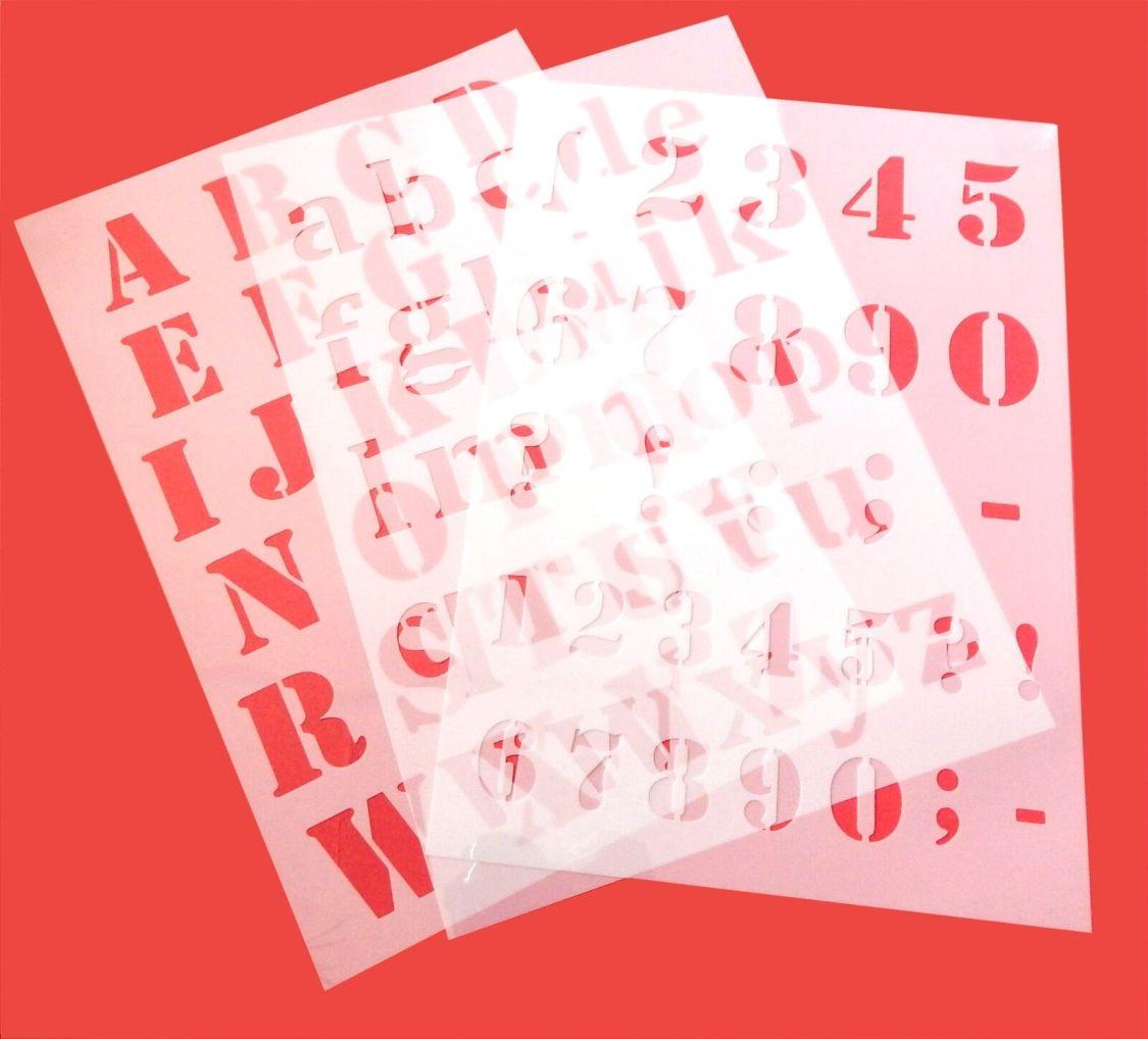 Alphabet Schrift-Schablonen Druck - Buchstaben ● ABC groß, abc klein oder Zahlen