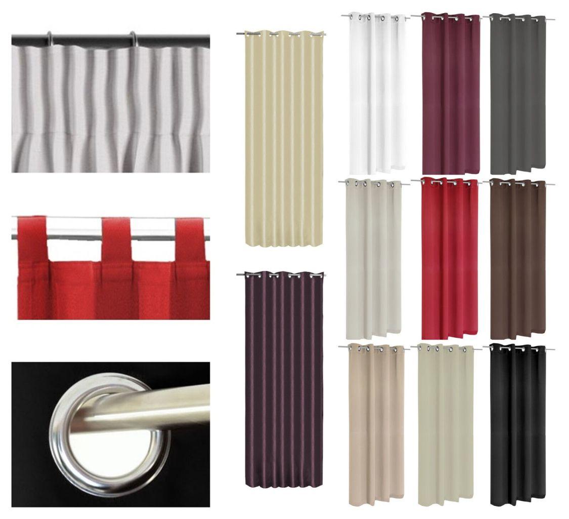 Vorhang Kräuselband Ösen Schlaufe verdunkelung Thermo Gardine 3 Größen 11 Farben