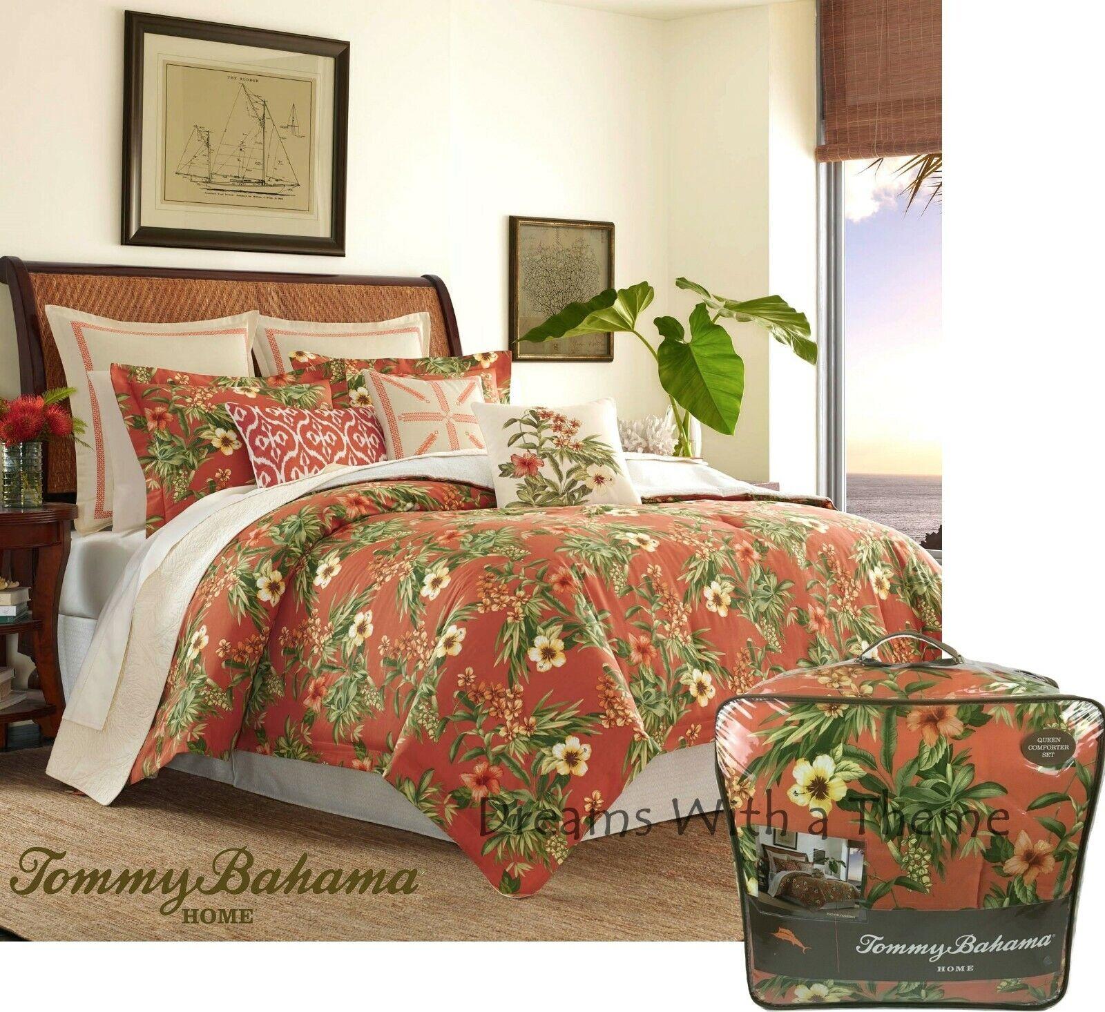 details about tommy bahama coral coastal rio de janeiro tropical floral 4p queen comforter set