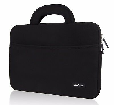 "Chromebook Case (11.6""-12"") amCase Protective Neoprene Laptop Sleeve/Bag (Black)"