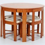 Kitchen Dining Table Set Round Top Four Small Chairs Space Saving Medium Oak Ebay