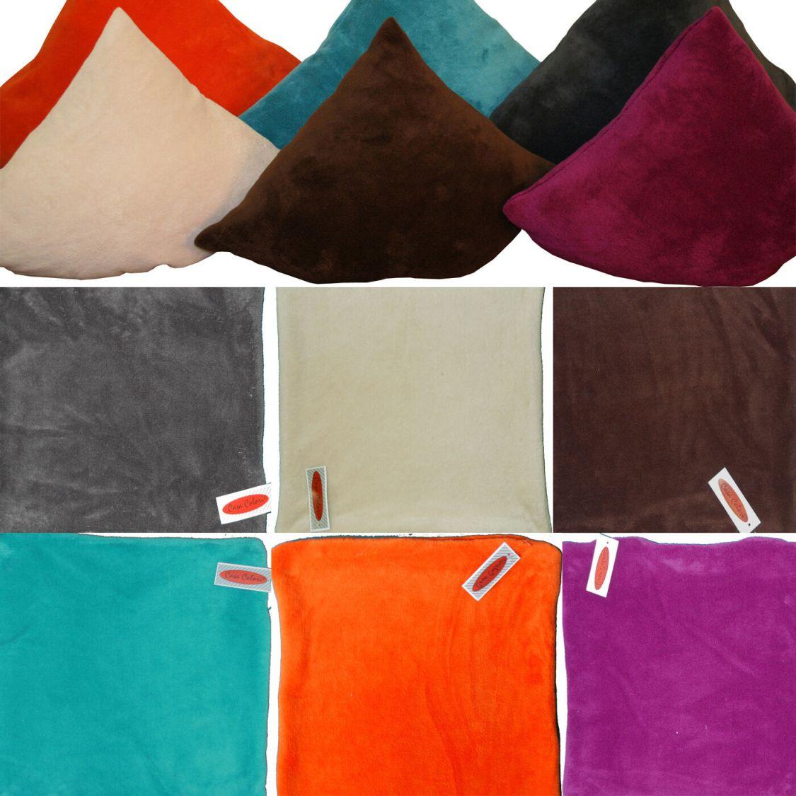 2 Stück Kissenhüllen, Kissenbezüge 50 x 50 cm Fleece Flausch Plüsch Kissenbezug