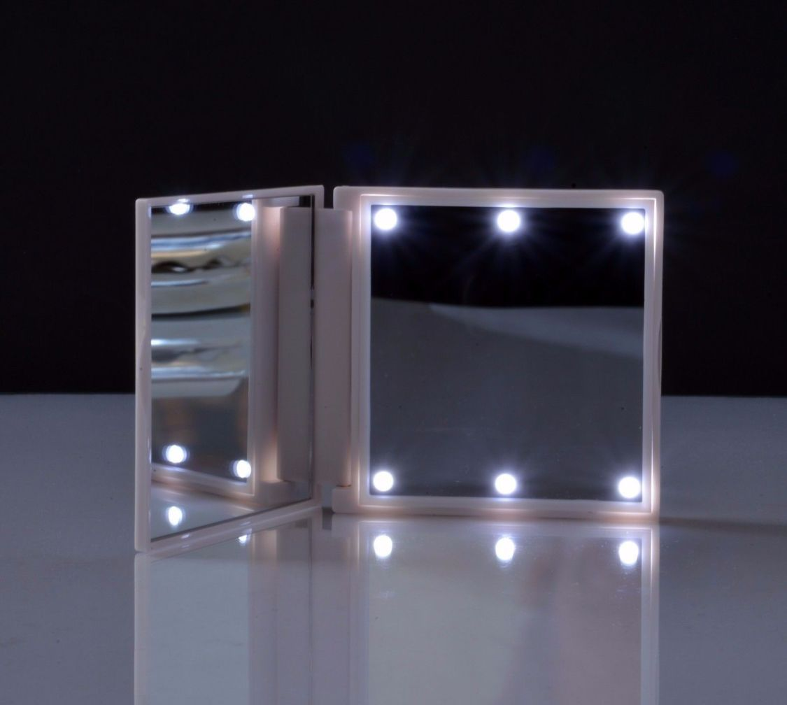 Schminkspiegel beleuchtet Reise Spiegel FLO LED Taschenspiegel weiß weiss