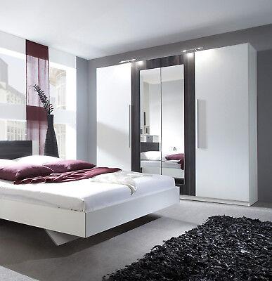 Kleiderschrank Schlafzimmerschrank 228cm weiß / nussbaum schwarz Spiegel 54027