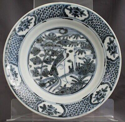 Chinese Ming Wanli Period Zhangzhou Swatow Blue & White Porcelain Phoenix Dish