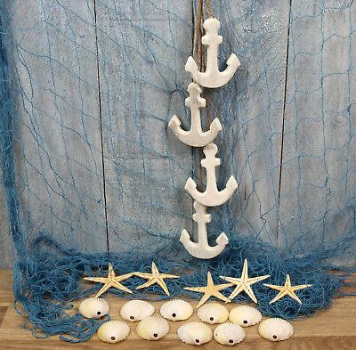 Fischernetz 1x2m blau, 5 Seesterne, 10 Muscheln, 4 Dekohänger
