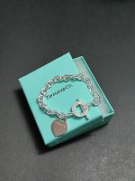 Tiffany & Co 925 Sterling Silver Blank Heart Tag Toggle Charm Bracelet