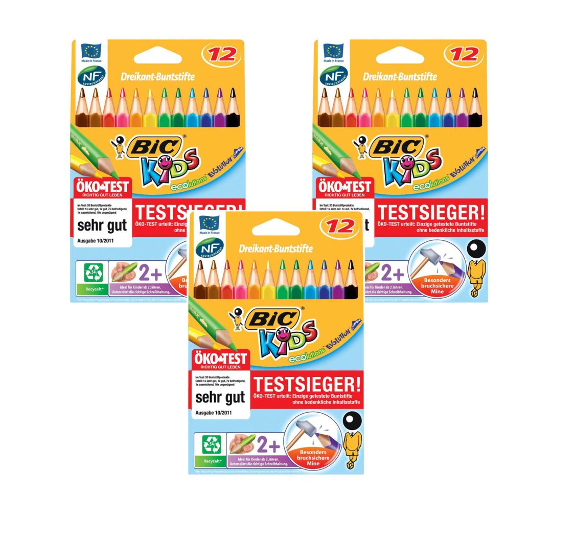 3 x Bic Kids ECOlutions Evolution Buntstifte  mit 12 Farbstiften Dreikant Jumbo