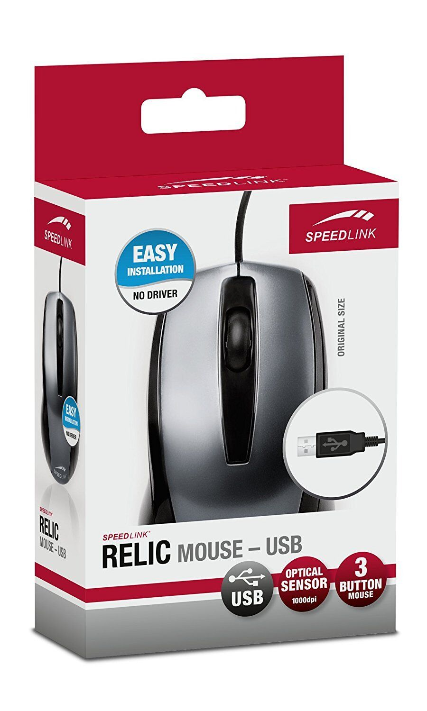 SPEEDLINK RELIC 3-Tasten Maus USB Anschluss für Rechts- und Linkshänder E14-4829
