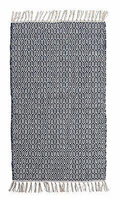 Baumwollteppich Wohnzimmerteppich Handwebteppich Fransenteppich 80x150 IKAT 21