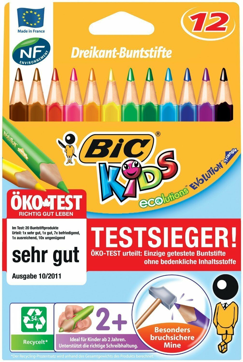 Bic Kids ECOlutions Evolution Buntstifte Set mit 12 Farbstiften Dreikant Jumbo