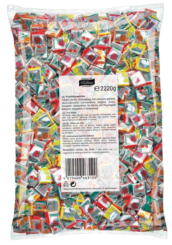 (1000g=4,44€) Fruchtkaramellen 2,22 kg - Kaubonbon - 1000 Stück - Kaubonbons
