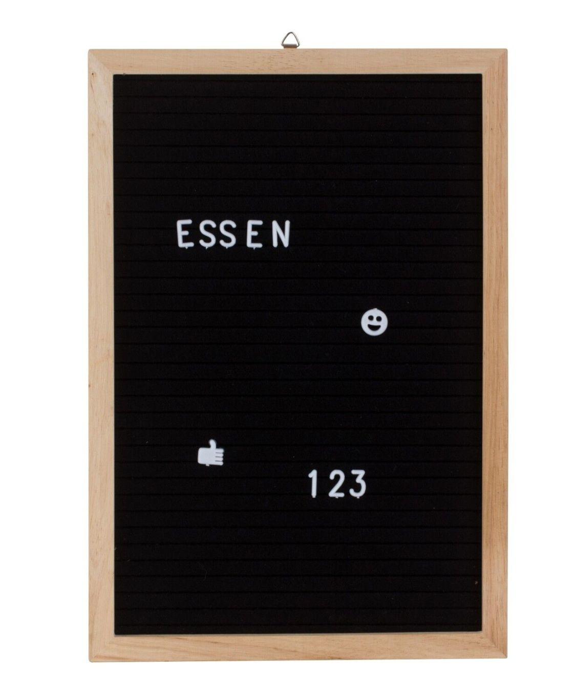 Memotafel Letter Board aus Holz Schwarz mit 458 weißen Buchstaben 30x45 cm