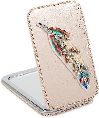 Taschenspiegel Strass Feder, Perlen Kette, 1X / 3X Vergrößerung, Kompaktspiegel