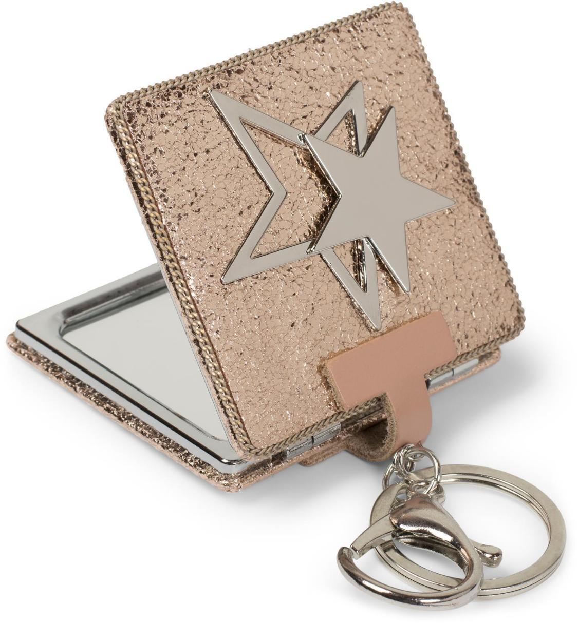 Taschenspiegel eckig mit Stern und Kette, 1X / 3X Vergrößerung, Kompaktspiegel