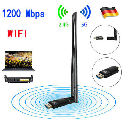 1200Mbps WiFi Dongle WLAN Stick Dualband Wireless Adapter 2.4 / 5GHz 802.11 WPA2