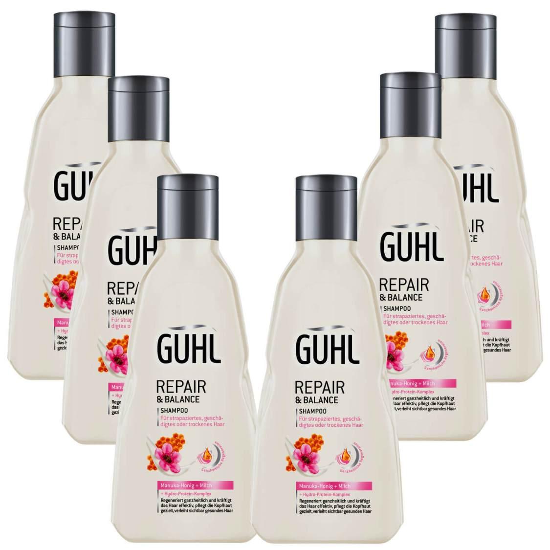 (20,73€/L) 6x 250ml Guhl Repair & Balance Shampoo Manuka Honig + Milch Pflege